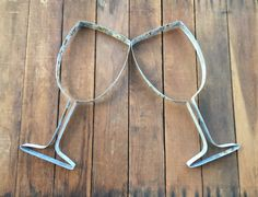 Wine or Champagne Glass Made From Recycled Wine Barrel Metal Hoop