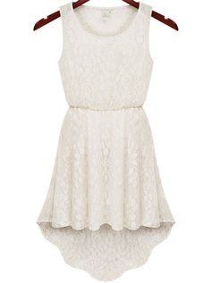 White Sleeveless Hollow Lace High Low Dress 8.83