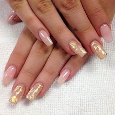 """""""Goodness gracious gold flakes… Oh wait. They're gold leaves. Gold Acrylic Nails, Summer Acrylic Nails, Gold Nails, Nude Nails, Acrylic Nail Designs, White Nails With Gold, Acryl Nails, Luxury Nails, Neutral Nails"""