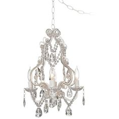Mini swag plug in crystal chandelier antique porch patio white with crystal accents plug in swag chandelier aloadofball Images