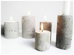DIY | Concrete Project A fast and easy project.  We can help you with some stain to turn your candle into old-world style art pieces.