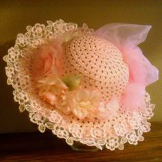Child's Easter or Tea Party Hat - trimmed in pink lace and flowers - Fabulous for a Flower Girl Tea Hats, Tea Party Hats, Hat Crafts, Crafts To Make, Fabric Wreath, Diy Wreath, Crochet Butterfly Pattern, Hat Decoration, Girls Tea Party