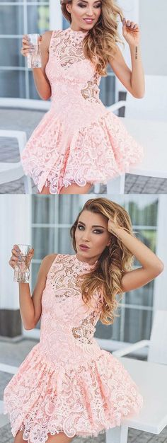 lace homecoming dresses, pink semi formal dresses, high neck short party dresses