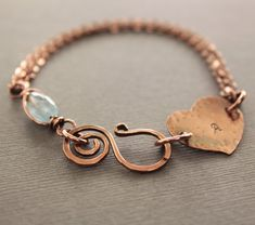 Personalized bracelet in copper with heart