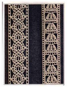 """423 Lace pattern """"Meticulous entredoses"""" to Crochet Patterns ~ . Crochet Cord, Crochet Fabric, Love Crochet, Filet Crochet, Irish Crochet, Diy Crochet, Vintage Crochet, Crochet Borders, Crochet Motif"""