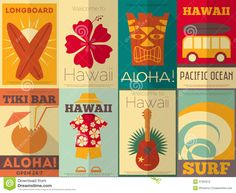 Retro Hawaii Posters Collection Royalty Free Stock Photo - Image ...