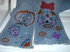 Dia de los Muertos jeans i made with perment markers