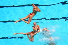 Ukraine compete in the Synchronized Swimming Team Technical preliminary round on day one of the 15th FINA World Championships at Palau Sant Jordi on July 20, 2013 in Barcelona, Spain.