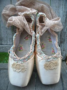Altered ballet pointe/toe shoes distressed by LittleBeachDesigns, $72.00