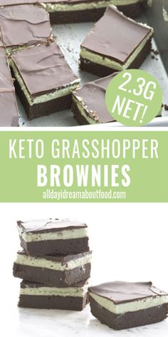 Hey there grasshopper Rich keto brownies with a layer of minty green frosting and all topped off with sugar-free chocolate ganache An ideal low carb treat for chocolate mint lovers ketobrownies ketobaking sugarfree Low Carb Chocolate, Sugar Free Chocolate, Mint Chocolate, Chocolate Ganache, Keto Friendly Desserts, Low Carb Desserts, Low Carb Recipes, Diet Recipes, Health Recipes