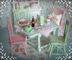 pink and green dollhouse kitchen