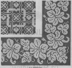 Gallery.ru / Φωτογραφίες # 13 - κατάστημα μόδας 1865 - natashakon Filet Crochet Charts, Crochet Borders, Knitting Charts, Knitting Stitches, Cross Stitch Borders, Cross Stitch Flowers, Cross Stitch Designs, Cross Stitch Patterns, Crochet Tutorials