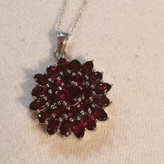Sunflower Necklace Ruby color sunflower looking necklace, comes with chain Jewelry Necklaces
