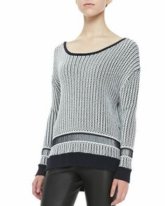 Dane Two-Tone Knit Sweater by Alice + Olivia at Neiman Marcus.