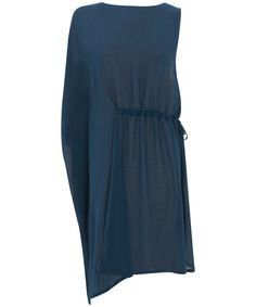 Navy Blue Alert: Summer evenings - a ruched side dress in navy / teal