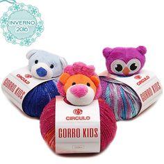 Gorro Kids Círculo - kit com lã + bichinho, dá pra fazer um gorro em tricô ou crochê. #euquero