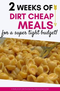 Find ideas for two weeks' worth of dirt cheap meals! This dirt cheap meal plan will help you stretch your budget when money is tight! Cheap Family Dinners, Cheap Dinners, Easy Family Meals, Frugal Meals, Budget Meals, Budget Recipes, Freezer Meals, Cheap Meals On A Budget Families, Budget Cooking