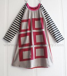 modern child #courtneycourtney #designer #graphic #dress #girls #eco #upcycled #recycled #repurposed #silkscreen #mod #blocks #squares #stripes