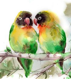 Lovebirds art print, watercolor print, green love birds couple, watercolor painting art, bird art, tropical bird Fine Art Print from Watercolor Painting Bird Watercolour Art PRINT DETAILS: printed on Epson art printer specialised in museum quality printing, on heavy weight archival