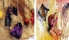 One of the most beautiful pieces I have seen completed as part of a high school art exam: a painting of an avocado skin, capsicum and beetroot. The photograph (taken by Nikau) used to inspire this piece is shown to the left. Growth And Decay, Ap Studio Art, Still Life Drawing, Art Folder, Fruit Painting, A Level Art, Sewing Art, Gcse Art, Art Themes