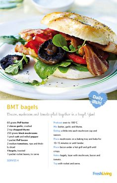 Mmmm… how about a lip-smacking #bacon, #mushroom & tomato #bagel for lunch today? Pile on the toppings and GO WILD! #dailydish #recipe #picknpay