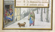 Detail from a calendar for January with a wintery scene in the border. One of the added pages to a Book of Hours for the use of Rome created...