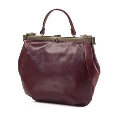 Burgundy Leather Tote Bag / Cross Body Bag by EllenRubenBagsShoes, $299.00