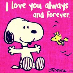 Snoopy love you always and forever Peanuts Snoopy, Peanuts Cartoon, Charlie Brown And Snoopy, Peanuts Movie, Peanuts Characters, Snoopy Love, Snoopy E Woodstock, Snoopy Hug, Happy Snoopy