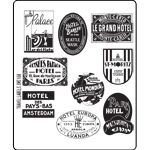 Vintage Travel Labels Stampers Anonymous Tim Holtz Cling Mounted Stamps - paris hotel europa hotel mondial new york hotel traveling stamps Tim Holtz Stamps, Ink Stamps, York Hotels, Paris Hotels, Amsterdam, Seattle Hotels, St Moritz, Drum Lessons, Stamps