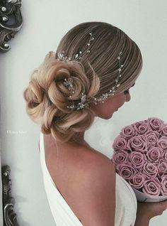 Nye brude frisyrer 2018 - ny hår stiler 2018 - Lilly is Love Romantic Wedding Hair, Wedding Hair And Makeup, Wedding Updo, Bridal Hair, Romantic Updo, Rose Wedding, Trendy Wedding, Cool Braid Hairstyles, Best Wedding Hairstyles