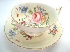 Paragon  Tea cup and Saucer, Light Yellow tea cup and saucer, Floral tea cup.