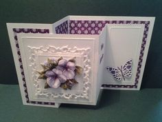 Created from two Z cards with die cut butterfly and flower details. Tri Fold Cards, Fancy Fold Cards, Folded Cards, Joy Fold Card, Z Cards, Step Cards, Easel Cards, Mini Album Scrapbook, Spellbinders Cards