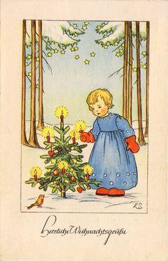 AK - Weihnachten - SCHERBAUER - Engel und Lichterbaum, 1941