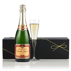 £32.50 - The essential ingredient for any celebration, a bottle of Jean Pernet's Brut Tradition presented in a smart black gift box is the definition of understated class and style.   Best consumed amongst close friends and family, but not shared between too many!