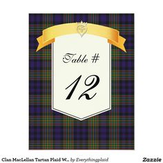 Clan MacLellan Tartan Plaid Wedding Table Number