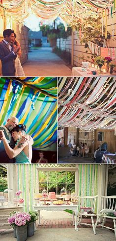 Decoraciones colgantes para bodas - cintas de colores