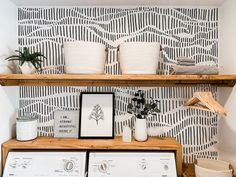 """Modern Laundry Room Refresh With Hand Drawn """"Wallpaper"""" Laundry Room Organization, Laundry Room Design, Laundry Decor, Laundry Room Shelving, Laundry Closet Makeover, Sharpie Wall, Layout Design, Design Ideas, Design Trends"""