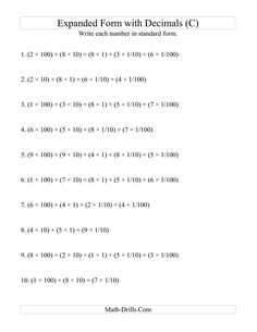 The Convert from Expanded to Standard From (3 digits before decimal; 2 digits after) (C) Math Worksheet from the Decimals Worksheets Page at Math-Drills.com.