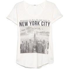Mango City print t-shirt (43 BRL) ❤ liked on Polyvore featuring tops, t-shirts, shirts, tees, white, women, tee-shirt, white cotton shirt, cotton t shirts and t shirt