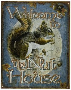 cute squirrel, welcome to the nut house sign is perfect for the squirrel lover on your list, or yourself!
