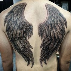 Angel Wings Back Tattoos - Best Back Tattoos For Men: Cool Back Tattoo Designs For Guys - Men's Upper, Lower, Full Back Tattoo Ideas #tattoos #tattoosforguys #tattoosformen #tattooideas #tattoodesigns