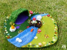 Play mat felted wool waldorf gnome pixie fairy tale toadstool playscape woodland fishing rod moss bridge firepit fish cave area field flower...