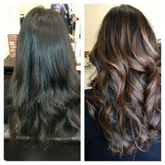 Hair color brown. Dark brown with Carmel highlights.