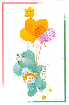 Care Bears: Wish Bear with Milk, Floating on Balloons