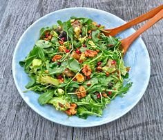 Toasted Walnut, Aubergine and Pomegranate Salad (Serves 3)  - 1 bag of rocket - 2 aubergines - 2 large avocados - 1 broccoli - 1 1/2 cups pomegranate seeds - 2/3 cup walnuts pieces - 1 cup pine nuts - 2 large sweet potatoes  For the dressing: - 4 tbsp olive oil - 1/2 an avocado - 2 squeezed limes - 2 tsp tahini - 2 tspraw agave syrup - 2 tbsp water