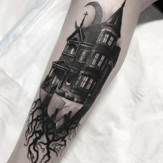 The Wickedly Cool Body Art Tattoos, New Tattoos, Cool Tattoos, Burg Tattoo, Cathedral Tattoo, Haunted House Tattoo, Graveyard Tattoo, Halloween Tattoo, Halloween Halloween