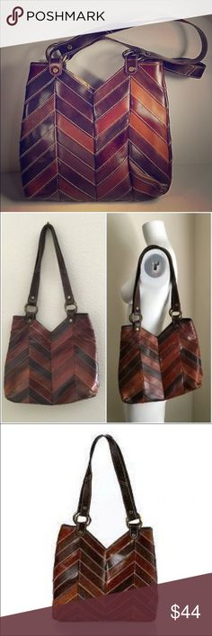 Lucky Brand Chevron Shoulder Bag Super cute medium sized lucky brand purse. Different colors of brown leather in stylish chevron pattern. Variations in the leather are a normal characteristic of this purse, and intentional. Straps are 10 in from top of bag across bottom is 3 in but gives like a hobo bag a little it's 13 in wide at the largest part about 12 in tall. needs conditioned but never carried it. light marks but lends to the style of the bag. Back side of straps are a rougher…