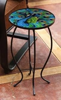 Peacock Side Table $38.66 allthingspeacock.com - Peacock Garden Decor