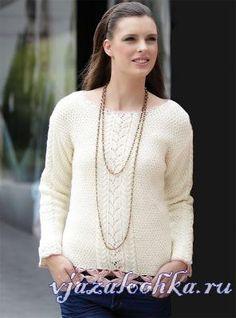 Теплый пуловер спицами для женщин