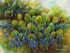 Cactus Painting - Bluebonnets And Cactus 2 by Hailey E Herrera